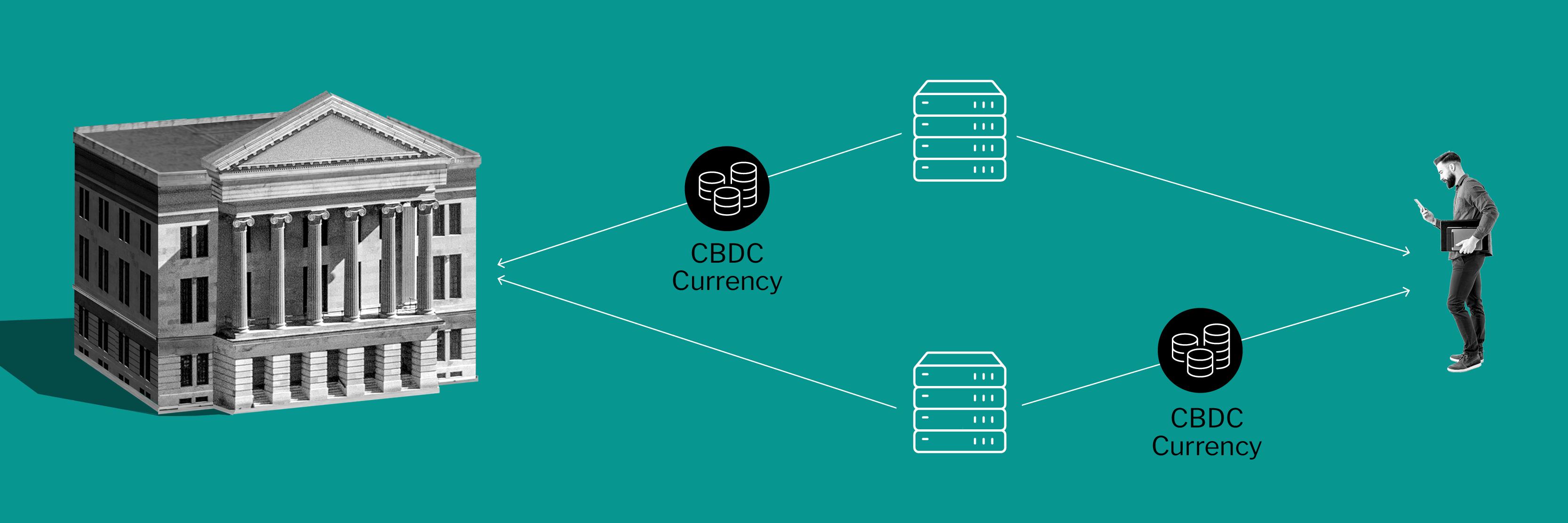 Illustration depicting a hybrid CBDC model