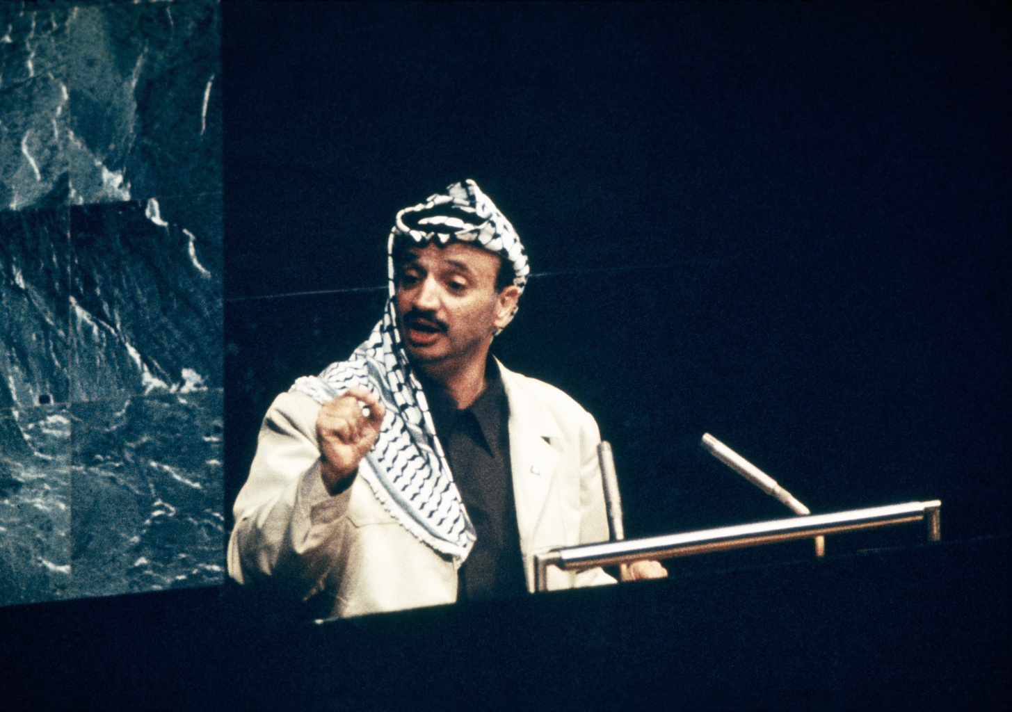Portrait Of Yasser Arafat Speaking At The United Nations In New York On November 12Nd 1974
