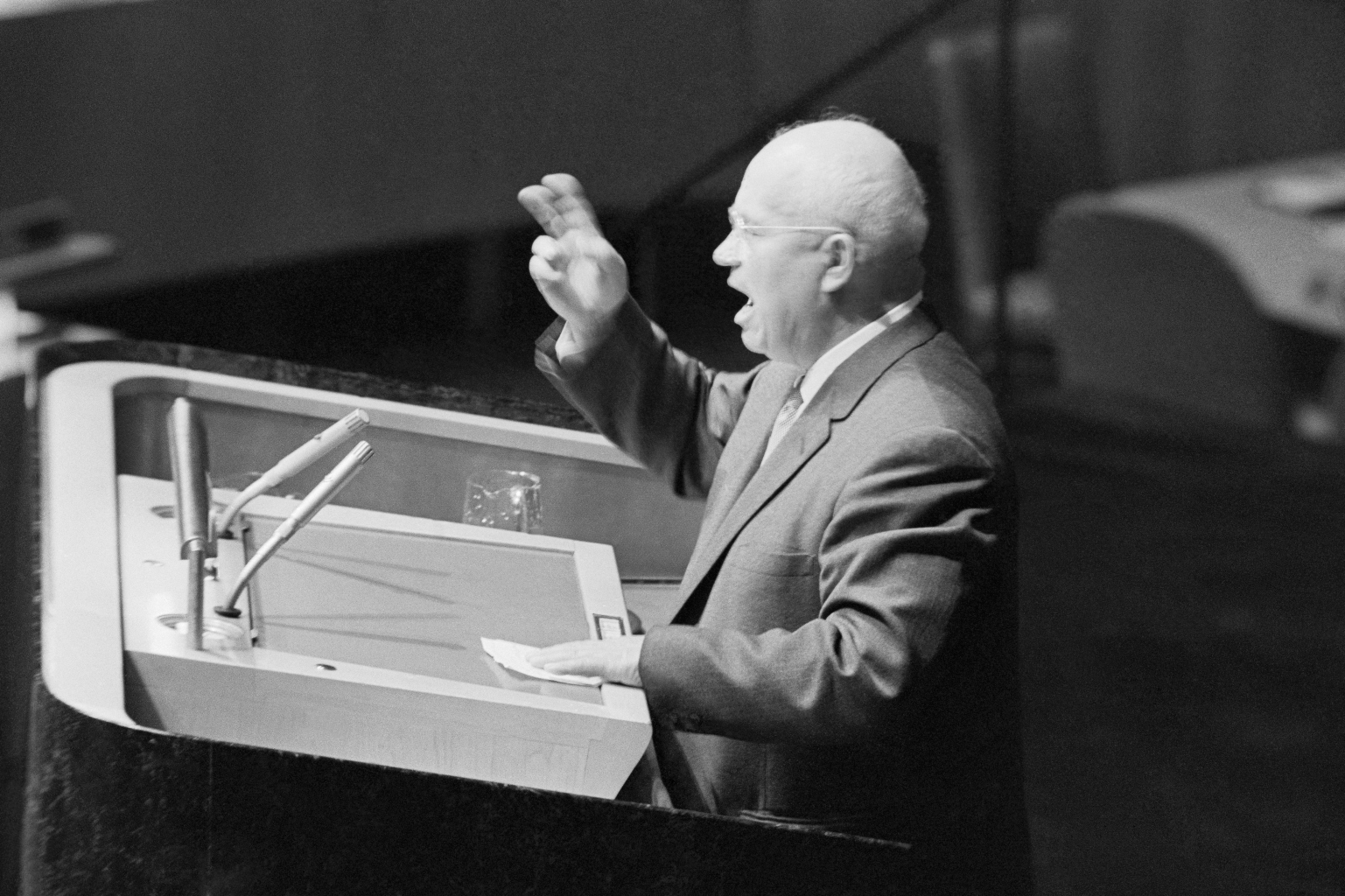 Soviet Premier Nikita Khrushchev Delivering Speech at United Nations