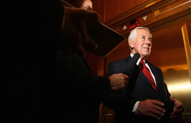 Sen. Richard Lugar speaks with reporters outside the Senate chamber in Washington on Dec. 15, 2010.