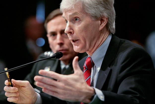 Ryan Crocker, then the U.S. ambassador to Iraq, answers questions from the Senate Armed Services Committee on April 8, 2008. (AFP/Getty Images)