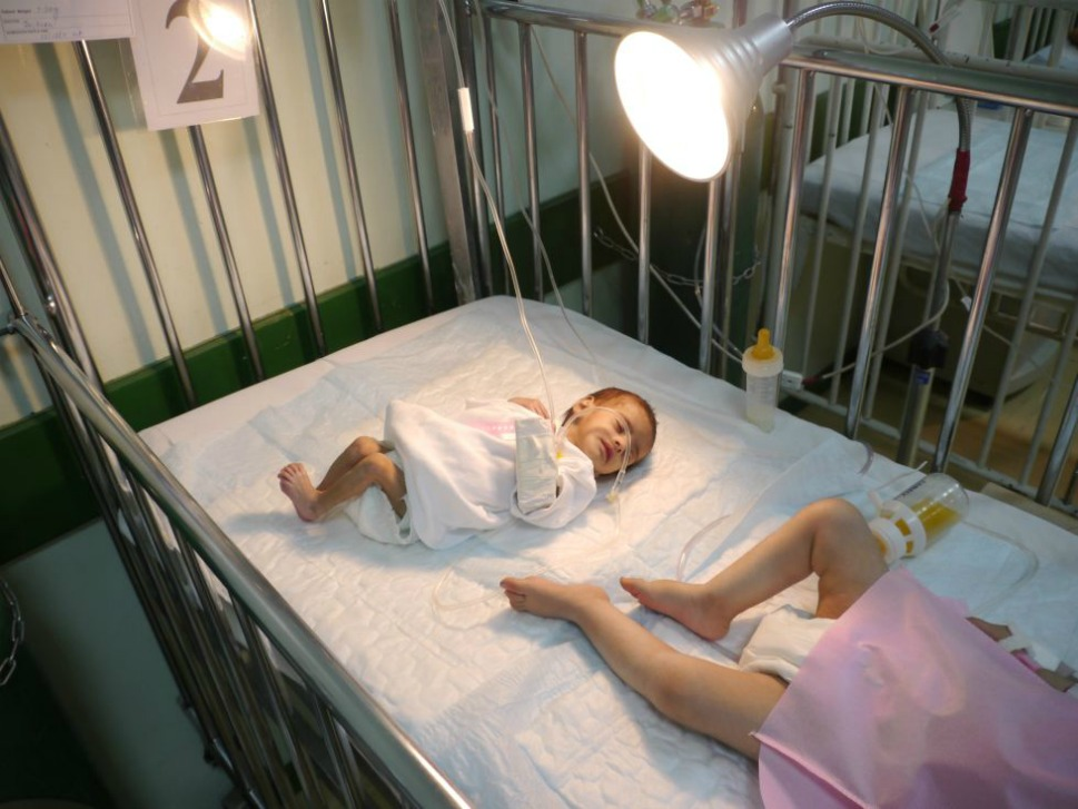A  malnourished baby attached to a life-support system recuperates in a cot in a  Saudi-run hospital in Saada. The destruction of farms and factories during the  fighting, price hikes, and limited access for aid agencies has led to soaring  rates of malnourishment. UNICEF officials say that nearly half the children in  Saada province are suffering from malnutrition.