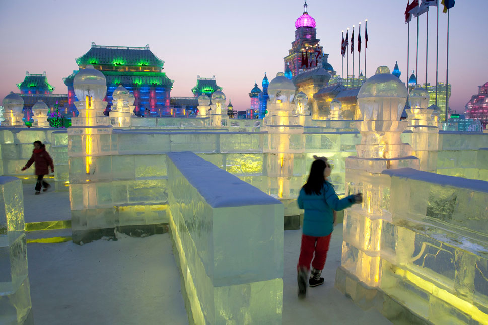An ice labyrinth is one of the many attractions within the city.
