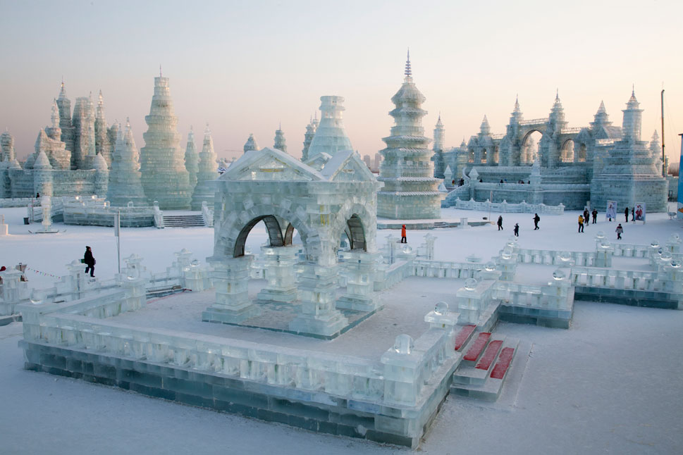 A pavilion stands among the vaguely Buddhist ice towers. While the temperature can drop to -41 degrees Fahrenheit during extreme   weather, a typical January day clocks in closer to about 0 degrees Fahrenheit.