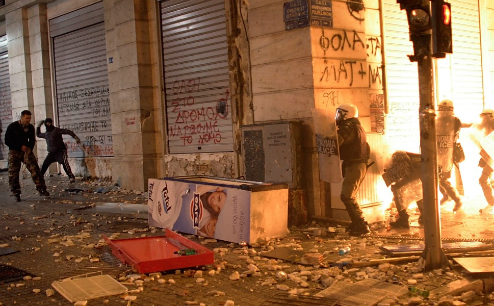 Demonstrators threw rocks and fire bombs at riot police as the protests turned violent.