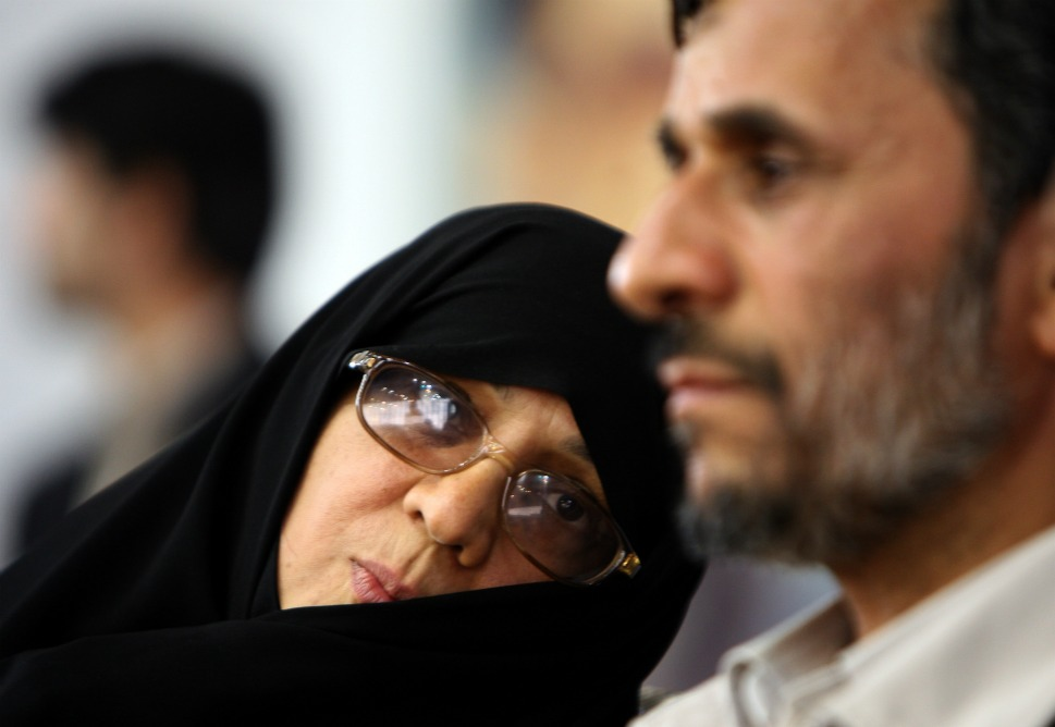 The couple: Iranian President Mahmoud Ahmadinejad  and his wife, Fatemeh.      Love lesson: Sometimes power couples keep it under wraps.          Above, Mahmoud Ahmadinejad sits next to his wife  during a campaign rally in Tehran on June 2, 2009. Fatemeh Sadat Farahi was a  classmate of Ahmadinejad's when he studied at the Iran University of Science  and Technology, and they married when he was 24, in 1981. Fatemeh has been a  relatively quiet first lady, and never appears in public without her chador,  but she will speak up for a cause she believes in. In 2009, she sent  Suzanne Mubarak, wife of deposed Egyptian president Hosni, a letter, suggesting  Egypt's first lady urge her husband to support Gaza's oppressed people. We can  only assume she also puts the pressure on Mahmoud when needed.