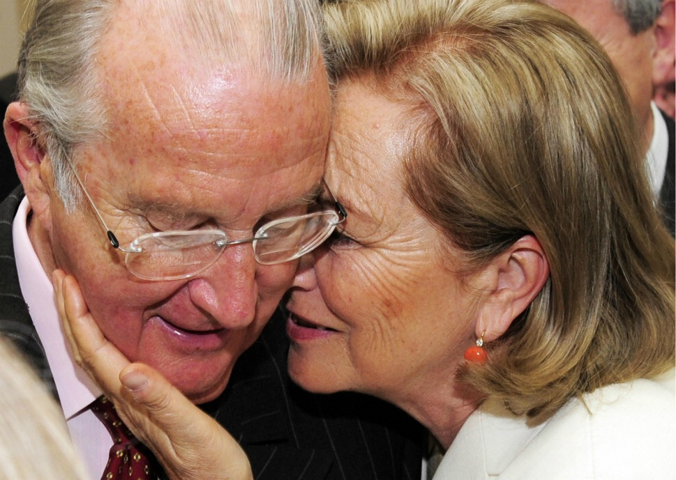 "The couple: Belgium's King Albert II and Queen Paola.      Love lesson: Sometimes, you have to forgive.       Above, King Albert II and Queen Paola snuggle while in  Brussels on June 19, 2008. The daughter of Italian Prince Ruffo di Calabria,  the sixth Duke of Guardia Lombarda, Paola celebrated her ""golden  anniversary"" after 50 years of marriage with Albert in 2009. All wasn't  always merry in the royal marriage, however; rumors  that a young Prince Albert fathered a love child with his mistress in 1968  refuse to die."