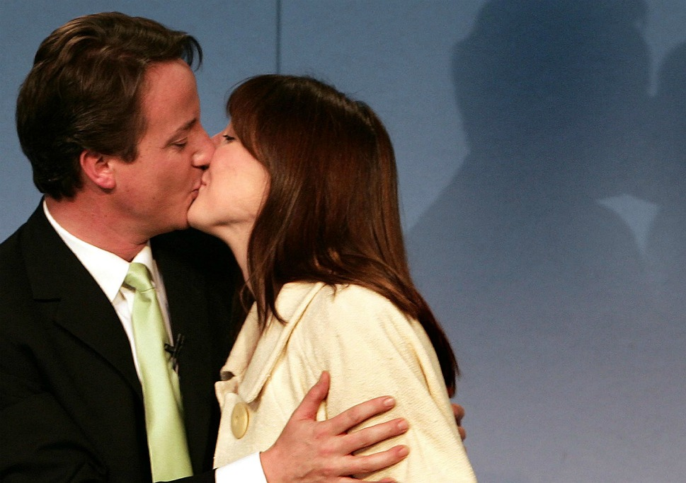 The couple: British Prime Minister David Cameron and his wife, Samantha.      Love lesson: True love knows no austerity.        Prime Minister David Cameron says his  wedding day was the most memorable 24  hours of his life.  Shown here after nine years of wedded bliss, the then-newly elected Conservative Party leader kisses his wife Samantha after giving his acceptance speech on Dec. 6,  2005, in London.