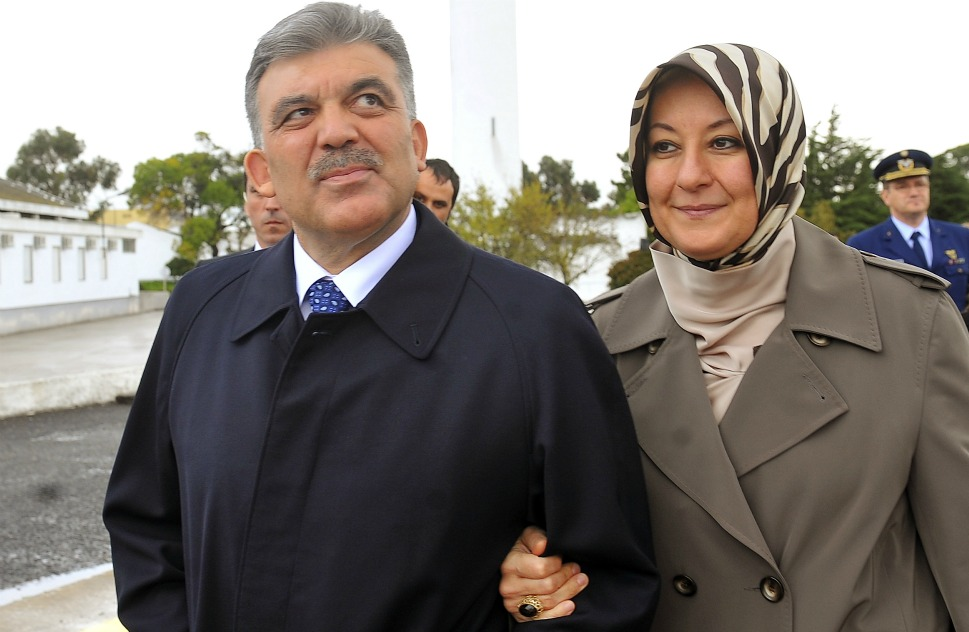 The couple: Turkish  President Abdullah Gul and his wife, Hayrunnisa.      Love lesson: It's what's in your heart  -- not on top of your head -- that matters.       President  Abdullah Gul's wife, Hayrunnisa, wears a tangible symbol of the country's decades-long struggle  between East and West on her head (and  a fierce fashion choice on her feet).  When Gul was elected in 2007,  Hayrunnisa received attention for wearing a traditional headscarf -- a symbol  of her religious identity -- that is banned in many public buildings across the  state. Though Turkey is 99 percent  Muslim, many saw this act as a veiled attack on the country's secular foundations. However, the couple has stood firm in their beliefs and  their love for one another.       Here, Gul and Hayrunnisa arrive for the NATO Summit on  Nov. 19, 2010, in Lisbon, Portugal.