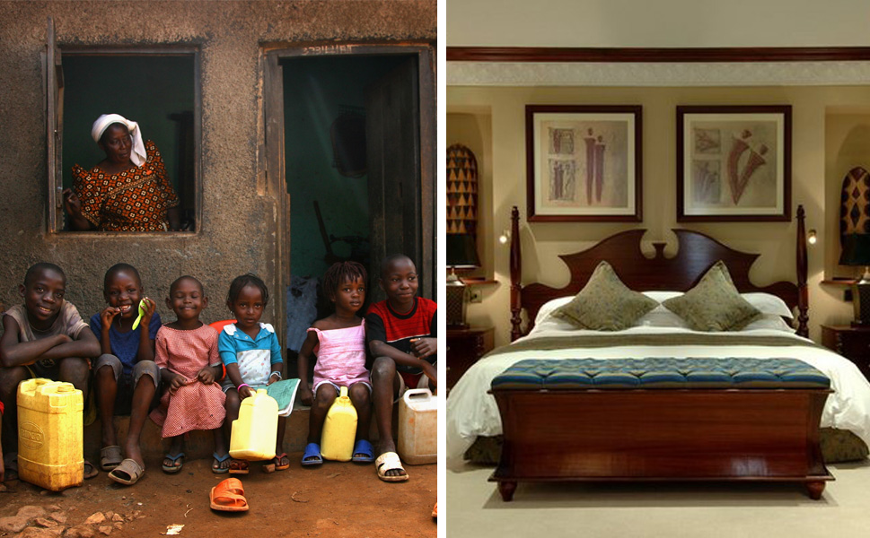 Left: Children sit on the street outside of their house in Kawempe Slum on  Nov. 23, 2007 in Kampala, Uganda.       Right: A room at the Serena Kampala hotel.