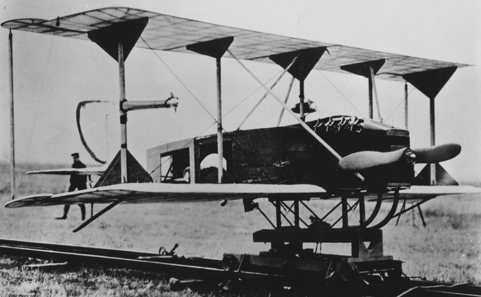1917: Sperry Aerial Torpedo       Toward the end of World War I, powered flight was in its infancy, the Wright brothers having flown their primitive biplane across the dunes of Kitty Hawk, North Carolina, a little over a decade earlier. But it was a time of stunning innovation. In 1917, Peter Cooper and Elmer A. Sperry invented the first automatic gyroscopic stabilizer, which straightens and levels out aircraft during flight, and unmanned flight was born. The new technology was used to convert a U.S. Navy Curtiss N-9 trainer aircraft into the first unmanned aerial vehicle (UAV), controlled by radio. For 50 miles in test flights, the Sperry Aerial Torpedo flew with a 300-pound bomb, but it was never used in combat.