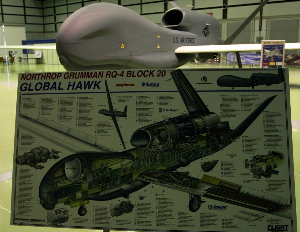 2010: Global Hawk          The Global Hawk, a high-flying, long-endurance UAV used by the U.S. Air Force, has an integrated sensor that provides intelligence, surveillance and reconnaissance. First developed in 2001, the Global Hawk has made significant benchmarks in aviation history. Known as the first UAV to fly non-stop across the Pacific Ocean, the Global Hawk was authorized to fly in U.S. airspace for the first time in July 2006. Shown here, a full-scale model of the Global Hawk is displayed during a presentation in Tokyo.