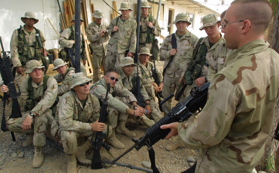 U.S. Marines with the 24th  Marine Regiment undergo weapons training on Feb. 24, 2003 at Camp Lemonnier.
