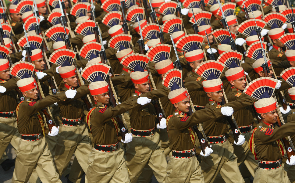 With over 1,129,900 active personnel, the Indian Army is the world's largest standing volunteer army. Following Indian independence in 1947, it adopted most of its current infrastructure from the British Indian Army. Although India's constitution mandates compulsory service, it has never been strictly imposed. The army has been heavily involved in U.N. peacekeeping operations around the world.