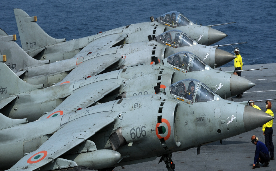 India is currently constructing a new aircraft carrier, which is   sceduled to hit the seas in 2014. Above, Sea Harrier aircraft prepare to  take off from the aircraft carrier INS Viraat, 30 miles  off the coast   of Mumbai, during an operational demonstration as a precursor to the   President's Fleet Review on November 14, 2011.