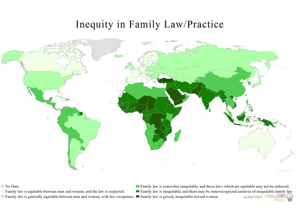 Family law: This multivariate scale demonstrates how inequitable family law  and its practice are toward women, measuring variables relating to marriage and  divorce, inheritance, and polygyny.