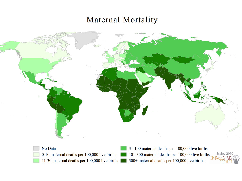 Maternal mortality: This scale demonstrates the level of maternal mortality in each  country, with the highest scores indicating a range of more than 300 maternal  deaths per 100,000 live births.