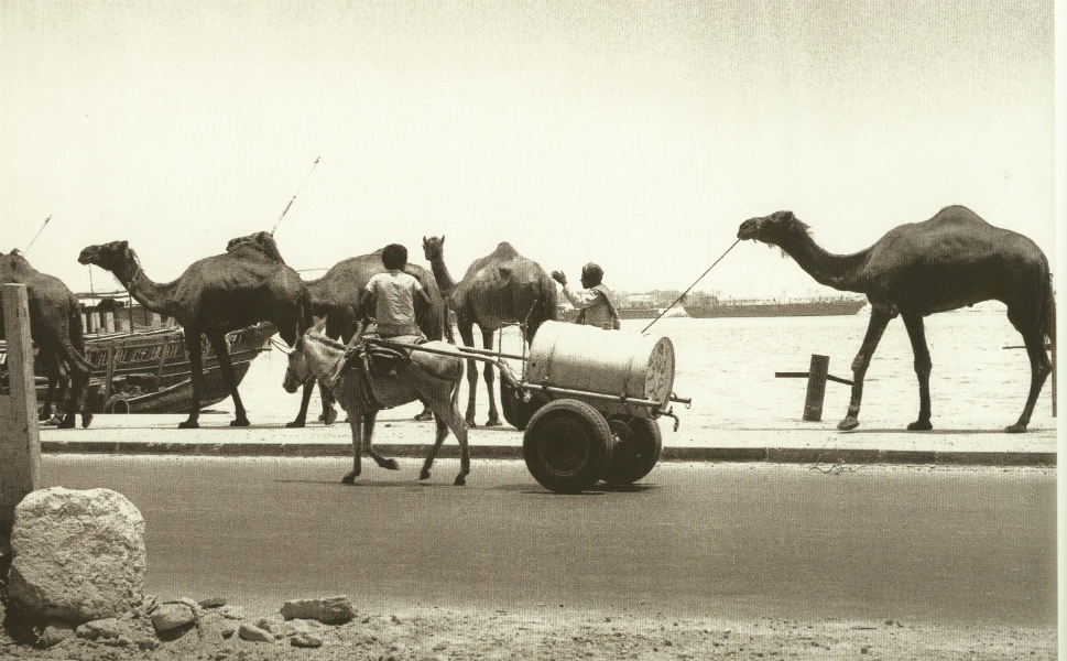 """Searching for an """"oasis in Dubai"""" today brings up a laundry list of glamorous hotels and luxury apartments. But until 1961, the term had a more literal meaning in the city-state. There was no running fresh water in Dubai before that year, meaning that supplies had to be transported in barrels or containers like the one above, often on rudimentary carts."""