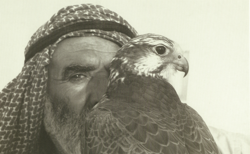 """A Bedouin man poses with his falcon. Falcons have been used as a hunting tool for centuries among the Bedouin communities in the Gulf. Falcons """"played an important role in helping families to survive in the desert,"""" Margit Mueller, the director of the Falcon Hospital in Abu Dhabi, said. """"For that reason, they were integrated into the family. They were not merely a tool, they became regarded as a family member, even as a child."""""""