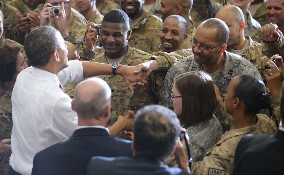 President Barack Obama greets troops during a  visit to Bagram Air Field on May 1 in Afghanistan. Obama signed a  U.S.-Afghanistan strategic partnership agreement during his unannounced visit to  the country.