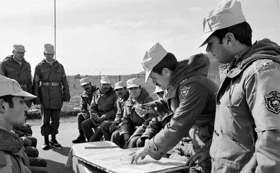 Before the Islamic Revolution in 1979, Iran was a participant in U.N. peacekeeping missions in the Middle East, providing 385 peacekeepers to the United Nations Disengagement Observer Force, which was established in 1974 to monitor a ceasefire between Israel and Syria. Today, Iran has only two military observers serving in U.N. missions.  Above, Capt. Ahmed Salehe (second from right) briefs his men in the Golan Heights in 1975.