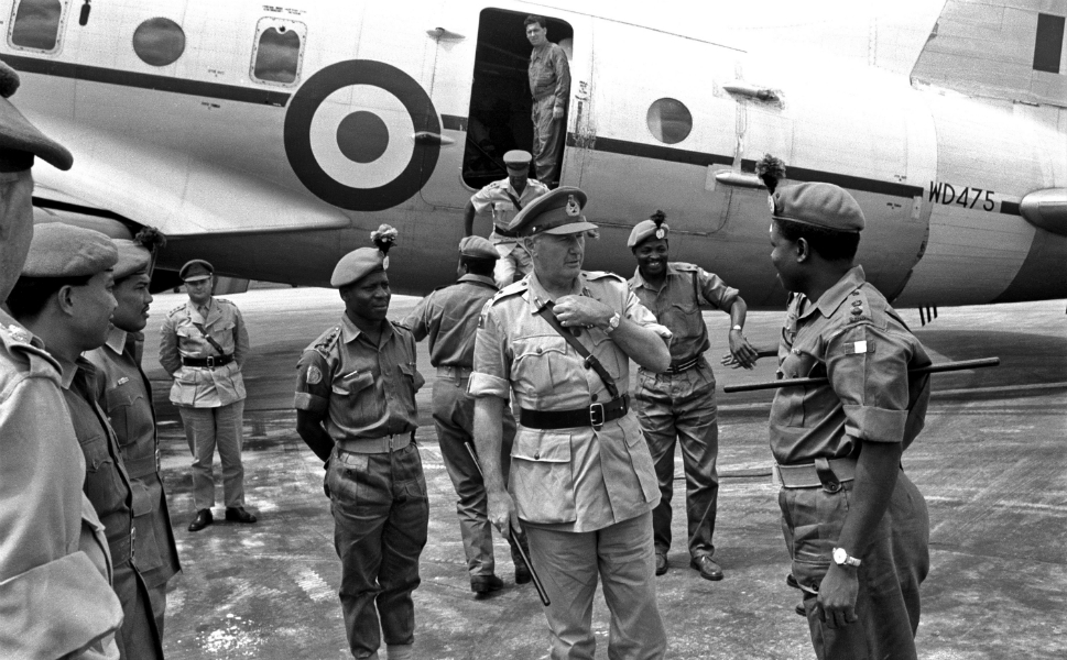 The U.N. mission in the Congo may have relied heavily on a mix of European and African peacekeepers, but command of the operation continued to rest primarily in the hands of white, Western officers.      Major General C.E. Welby-Everard, the last British officer to command the Royal Nigerian Army, is seen here visiting the 2nd Queen's Own Nigerian Army in Leopoldville in 1962.