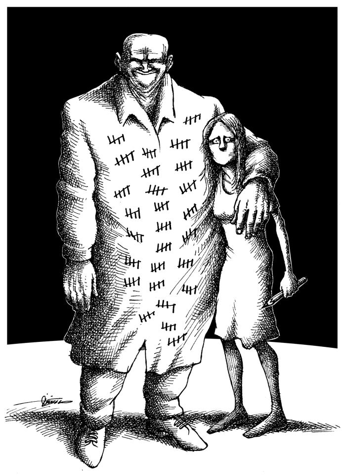 "Neyestani's  cartoons often touch on issues such as gender relations and sexuality, which,  he says, are ""undisputed taboos"" in Iranian newsrooms."