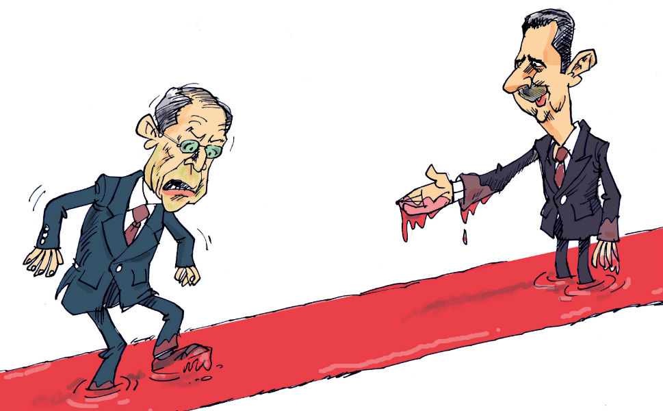 Syrian President Bashar al-Assad has proved a popular target for Iranian satirists. Here, Kowsar depicts a blood-drenched meeting between Assad and Russian Foreign Minister Sergei Lavrov.