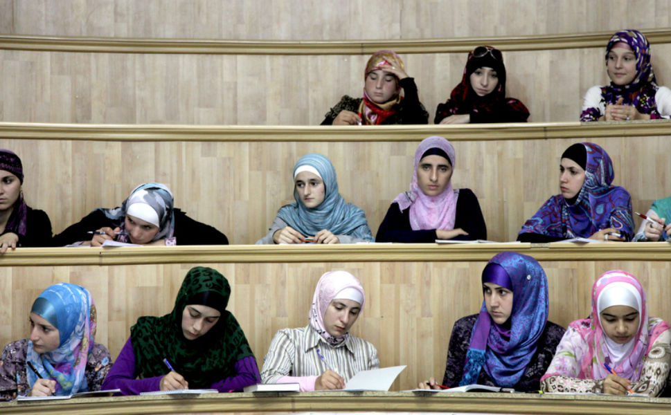 An female class on safety at  the Theological University in Makhachkala. The former rector of the  university, Maksud Sadikov, was killed in June 2010 by Islamic extremists for his moderate religious views.