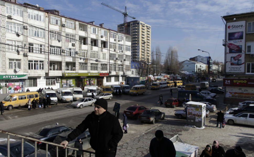 The busy streets of downtown  Makhachkala in winter.