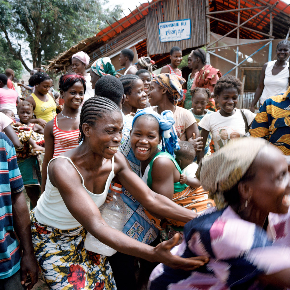 More than 150,000 people fled their homes and ended up in Liberian refugee camps, or moved in with acquiantances made during the Liberian civil war. Above, refugees who had been living in Liberia return to their village and reunite with family members  for the first time in Bledi Dieya on March 11, 2012.