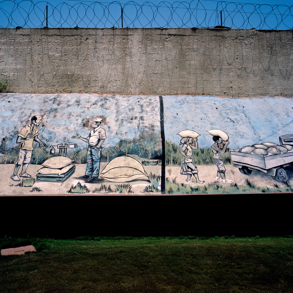 While people struggle to return home and to their normal lives, cocoa production proceeds apace. Above, a mural on the wall at Choco Ivoire, an  Ivorian company that processes cocoa butter, in San Pedro on March  5, 2012.