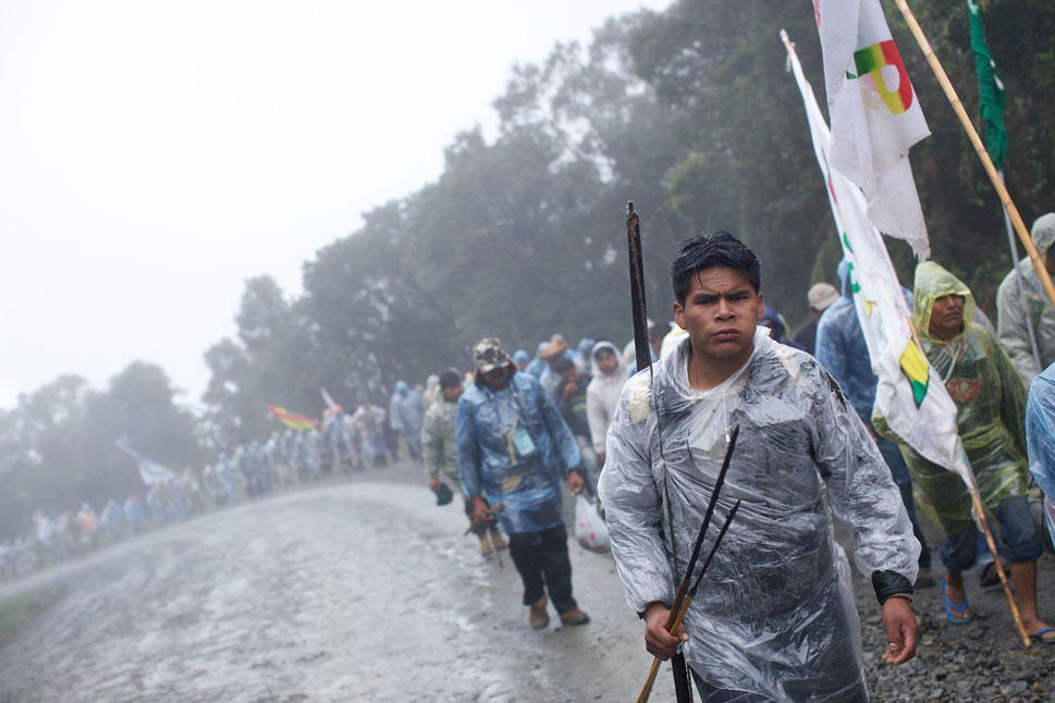 Indigenous groups endured rough weather and camped in the Yungas  valley during their protest march earlier this spring from their jungle communities to  the capital of Bolivia, La Paz. But the struggle initially appeared worth it; the marchers convinced the government to temporarily halt the proposed Tipnis highway. It seemed to mark the first time that  protests had halted a major Brazil-funded infrastructure project in the Amazon  region.