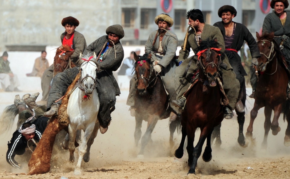 """9.  Buzkashi      An ancient game  played mostly in northern Afghanistan and other parts of Central Asia,  buzkashi, or """"goat-grabbing,"""" isn't for the faint of heart. To begin, a headless  goat carcass is placed in the middle of a large field and two opposing  teams compete for possession on horseback. Once retrieved, the object is to  ferry the carcass to the scoring area -- a marked circle on the ground. A  game of great skill and strength, horses typically train for five to six years  before they're ready to compete. For many Afghans, it's not a just game but  also a way of preserving traditional values as well as a test of communication,  endurance, and power."""