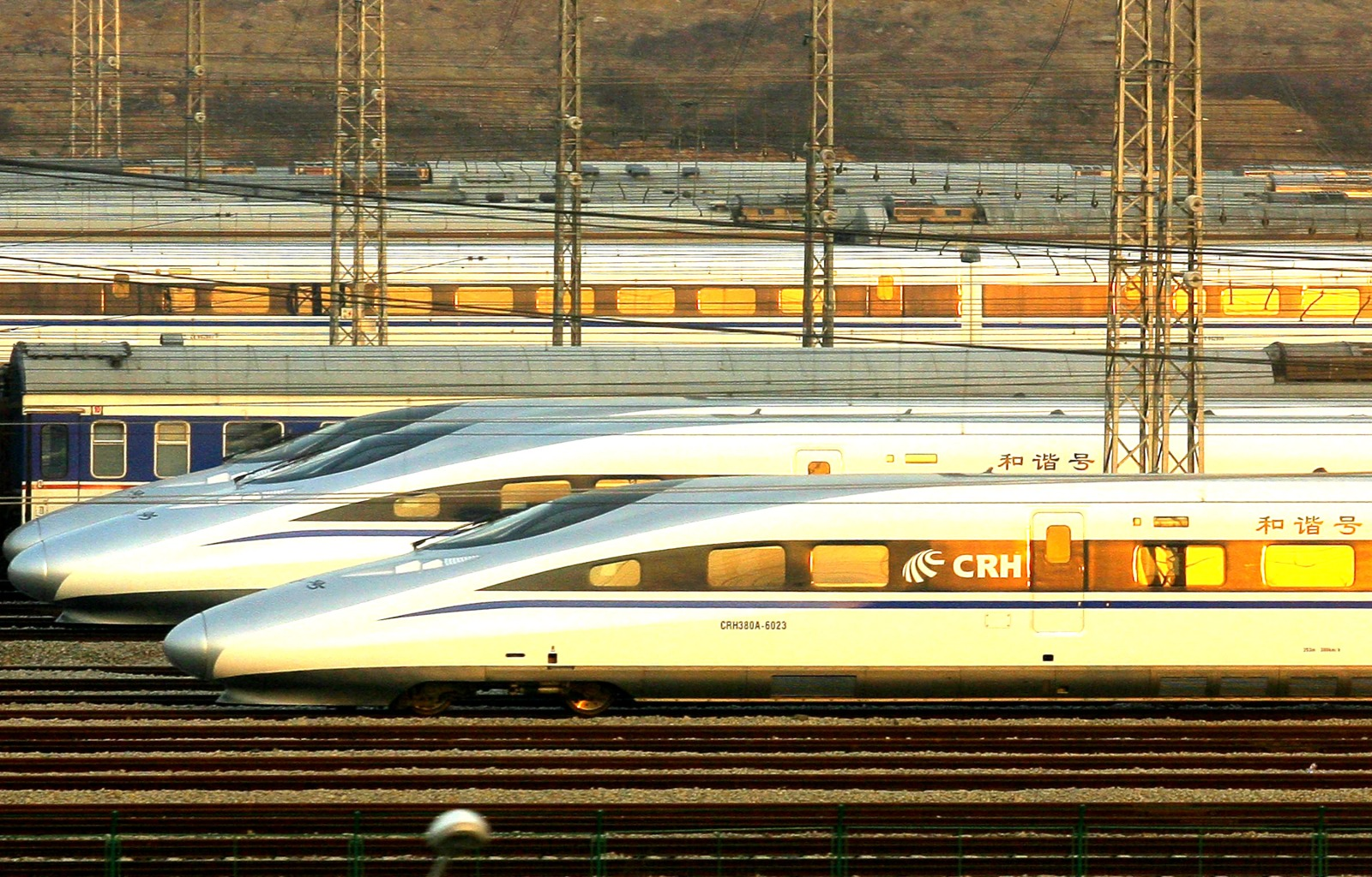 Wuhan: The train from Wuhan to  Guangzhou is the world's fastest intercity train, reaching top speeds of 217  miles per hour. Above, CRH380A high-speed trains are seen near the Wuhan Railway Station on Jan. 15, 2011. Chinese officials have invested billions of dollars in broadening and modernizing the country's rail network to keep pace with growing demand. Last year's 40-day spring festival travel rush attracted some 230 million new passengers.
