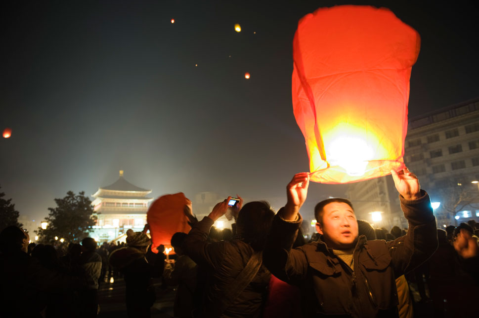 Xian: As China ramps up its spaceflight program, Xian -- home to the  famous terracotta warriors -- has emerged as the country's largest civil aerospace  base and largest experimental center for liquid-propellant rockets. Here, a somewhat less technological launch, as lanterns are released into the sky for New Year's Eve.