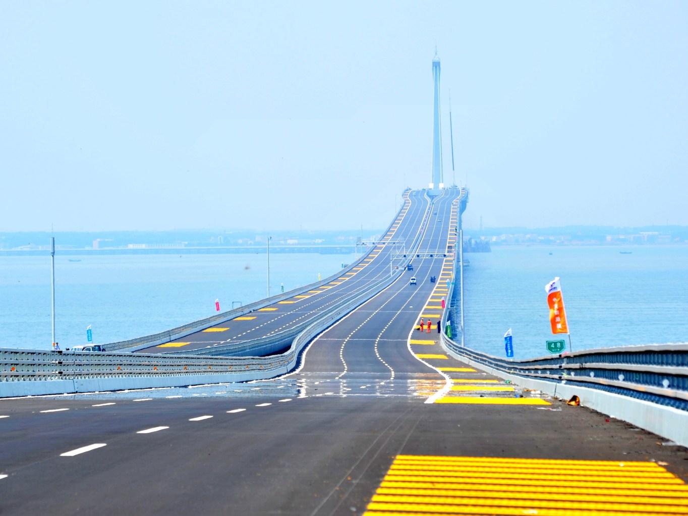 Qingdao: Qingdao boasts the world's longest sea bridge, which spans  26.4 miles across Jiaozhou Bay and cost more than $1.5 billion to build. Here, Qingdao Jiaozhou Bay Bridge can be seen three days before its June 30, 2011, opening.