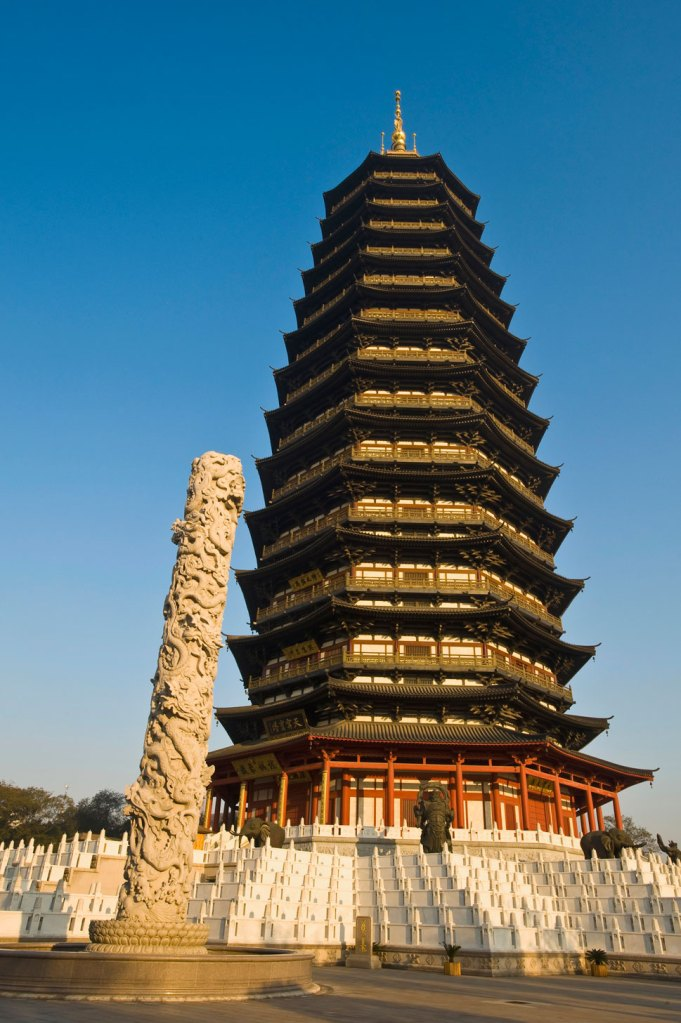 """Changzhou: Changzhou hosts the world's tallest pagoda, the Tianning Temple, which, at 153.79  meters tall, is """"7.2 meters closer to the heavens than the Khufu Pyramid  in Egypt,"""" China's state news agency boasts."""