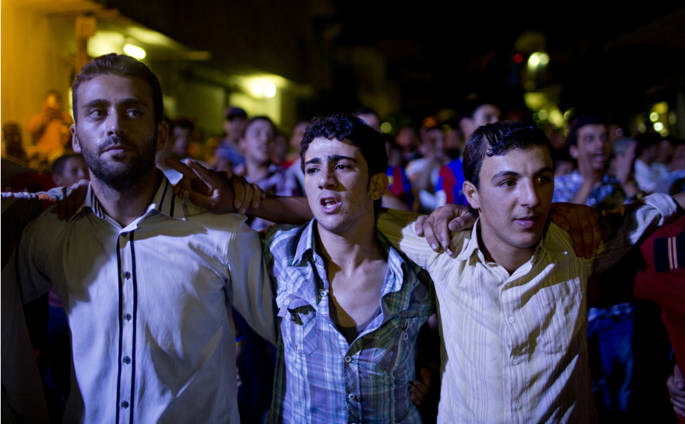 FSA supporters demonstrate against the government on the streets of Mari on Aug. 8.
