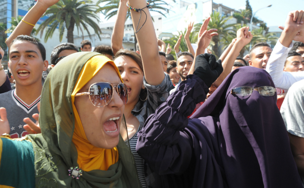 Moroccan women shout slogans during a demonstration against the film near the U.S. consulate   in Casablanca, Morocco.