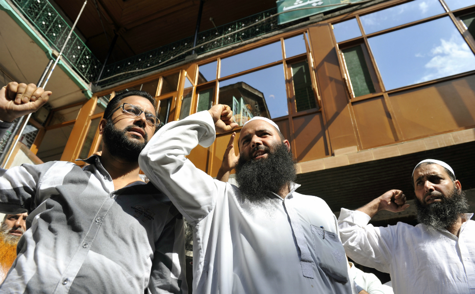 Kashmiri Muslims shout slogans during a demonstration against the   controversial movie in Srinagar, India, on Sept. 13.