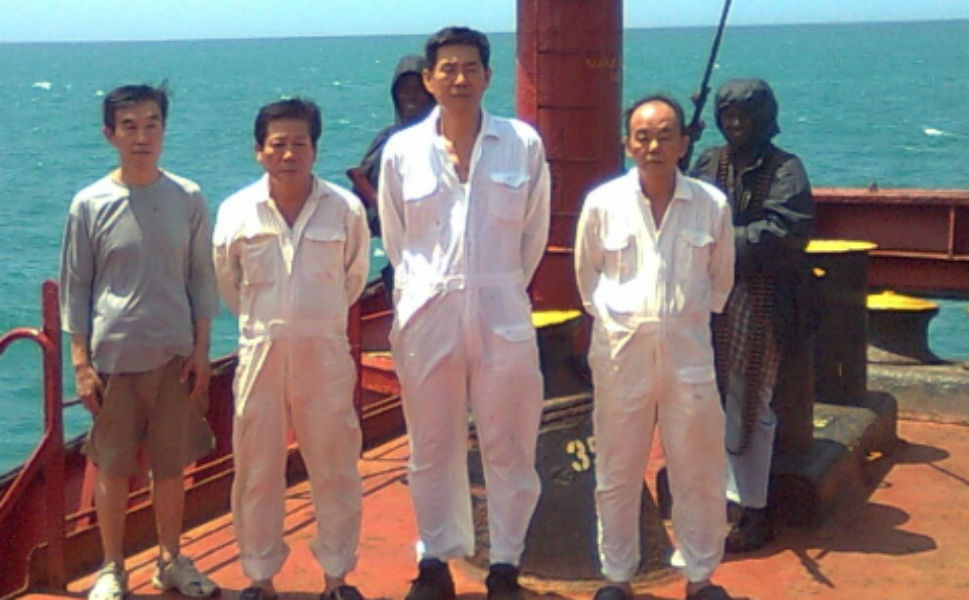 Even though the situation is improving, dramatic pirate attacks and prolonged hostage situations continue to occur. Above, four South Korean nationals, the former crew of a seized vessel, continue to be held by pirates as a protest against killings of their comrades during a rescue operation in January 2011. Although the pirates released the South Korean vessel and its other 21 crew members in exchange for $6 million dollars, these four have been kept while the pirates negotiate for a larger settlement. Two of the four have fallen ill and have not been provided with adequate medical care.
