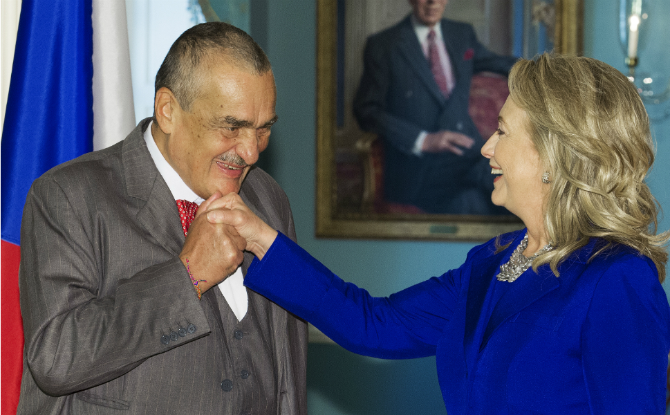 Here, Clinton pregames for her trip to New York, meeting  with Karel Schwarzenberg, foreign minister of the Czech Republic at the State  Department last Friday. In an exclusive interview with 's The Cable, Schwarzenberg said that the West was too slow in responding to the growing influence of Russia as a regional hegemon.      PAUL J. RICHARDS/AFP/GettyImages