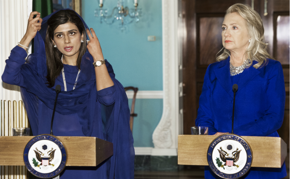 Last Friday, Sept. 21, was a full day for Clinton as she  greeted visiting dignitaries before traveling to New York for the general  debate at the United Nations. Above, she speaks at a joint press conference  with Pakistani foreign minister Hina Rabbani Khar before their private  bilateral meeting at the State Department.