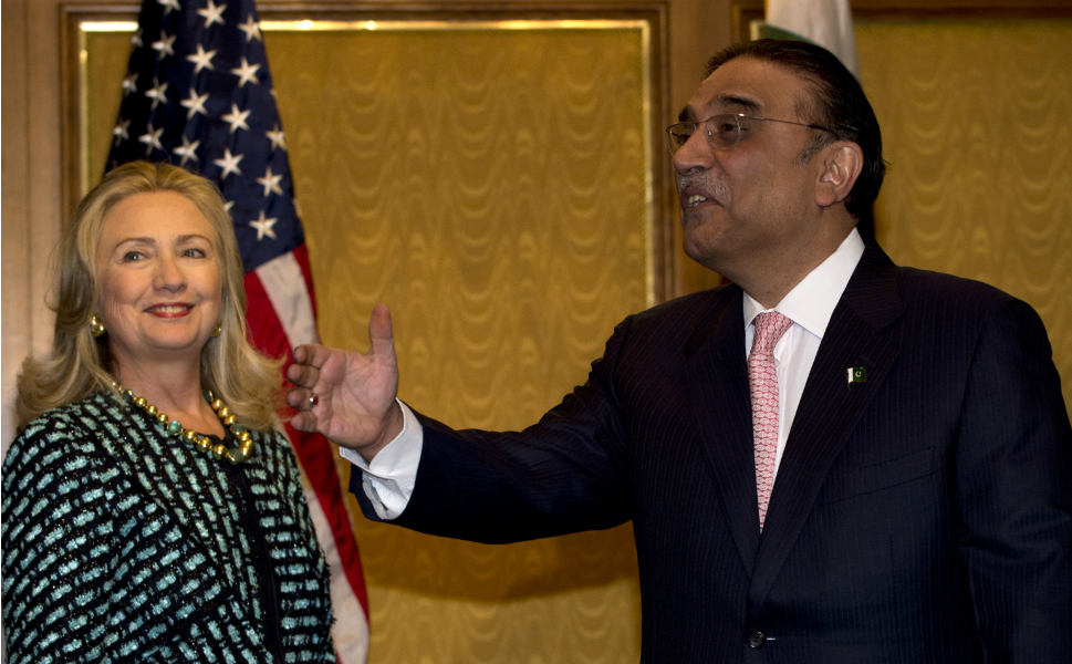 """Also on Monday, Clinton met with Pakistani president Asif  Ali Zardari in New York after meeting with the Pakistani foreign minister on  Friday. During a discussion about the recent riots over the film The Innocence of Muslims, Zardari told Clinton, """"One or two insane persons should not be allowed to endanger world peace in the garb of freedom of expression."""""""