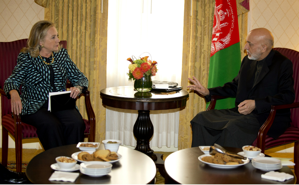 She also met with Afghan President Hamid Karzai on Monday. They  discussed plans for U.S. forces in Afghanistan now that the surge has quietly ended.