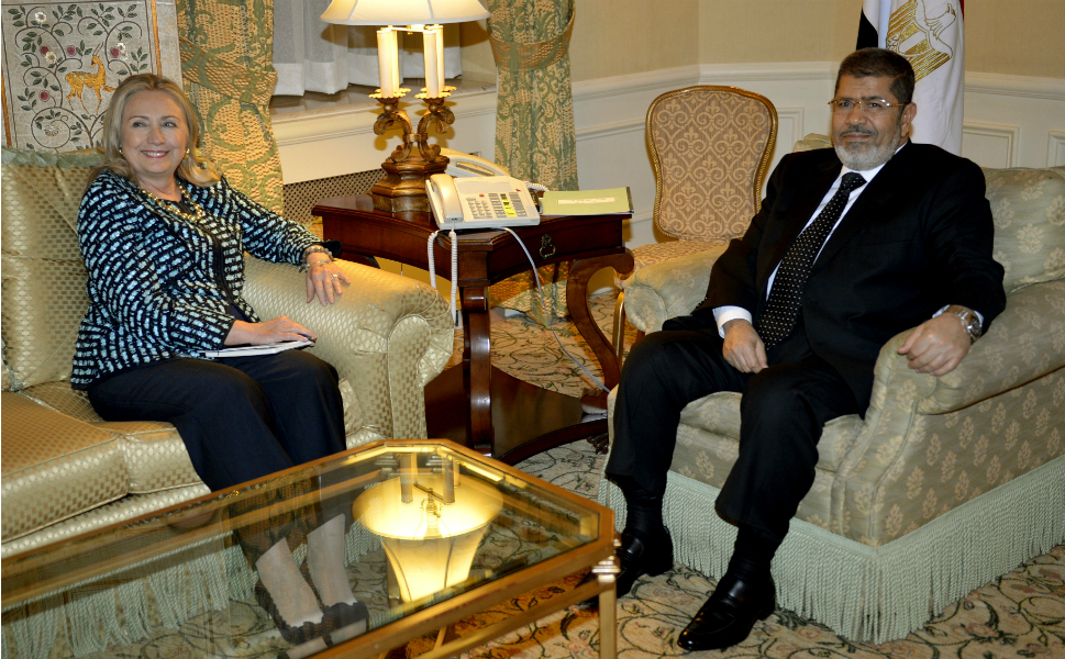 Clinton's last meeting on Monday was with Egyptian president  Mohamed Morsy. They discussed the recent embassy protests and free speech issues.