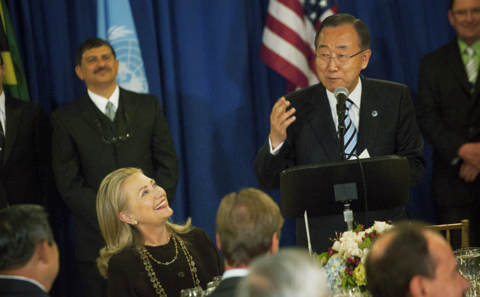 On Tuesday, Clinton spent the morning in meetings with Obama and U.N. officials before another round of bilaterals with heads of state.  Here, she takes a lunch break at the Head of State Luncheon, hosted by U.N.  secretary general Ban Ki-moon. She also held meetings with officials from  Lebanon, Iraq, Yemen, Belgium, and Greece, as well as the secretary general of  the Arab League.