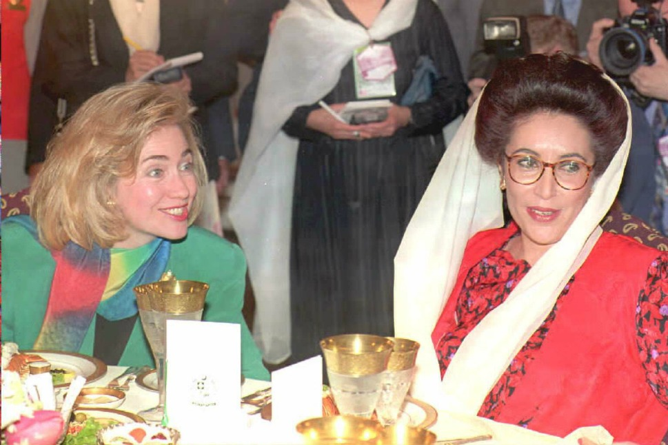 """It seems like just yesterday a youthful 47-year-old Clinton met with Pakistani Prime Minister Benazir  Bhutto at a luncheon in her honor at the prime minister's home in   Islamabad on  March 26, 1995. Bhutto described Clinton as a """"symbol for women   throughout  the world."""" After Bhutto was assassinated   in 2007, Clinton wrote that  """"Bhutto acknowledged the difficulties faced by women who were breaking   with tradition and taking leading roles in public life.... She deftly   managed to refer both to the challenges I had encountered during my   White House tenure and to her own situation."""""""