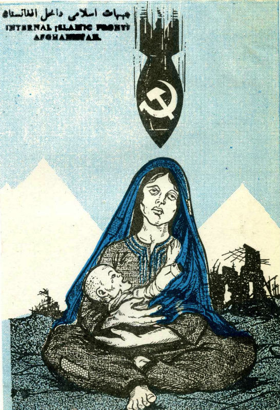 During  the decade of Soviet military involvement in Afghanistan, 5.5 million people, a  third of the pre-war population, fled and another 2 million were internally  displaced. Here, a despondent woman and her child sit amidst the rubble of a  ruined village as a Soviet bomb closes in from above.